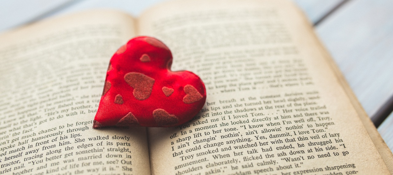 A Red Heart Inside Of A Book