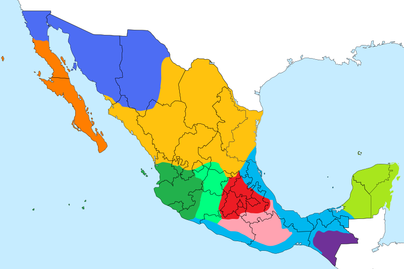 Spanish Dialects of Mexico Map