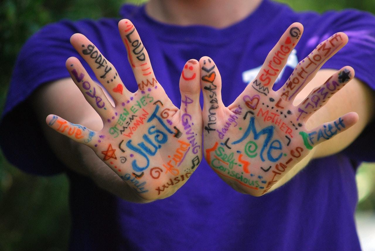 vocabulary written all over a person's hands
