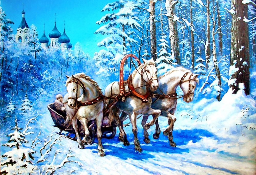 Russian Carriage with three horses