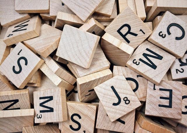 wooden scrabble pieces