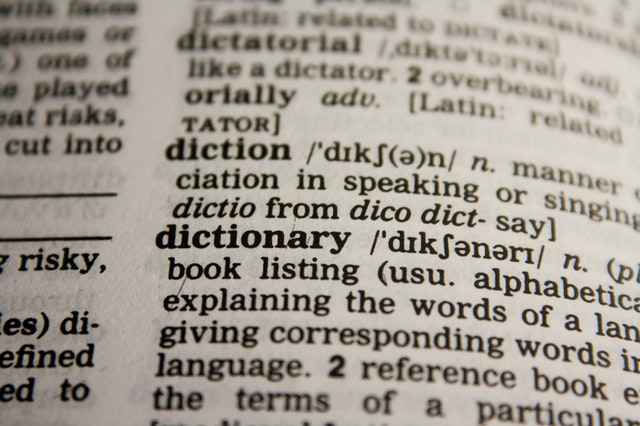 close-up of a dictionary