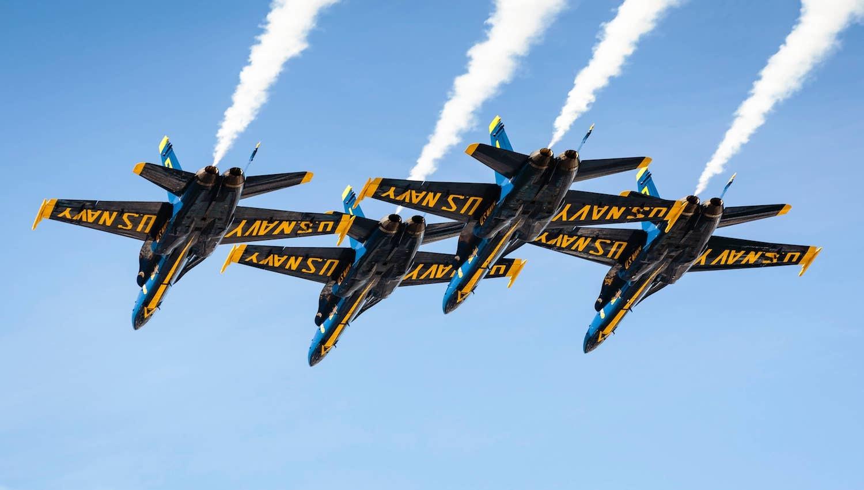 U.S. Navy planes fly in unison