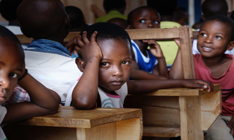 African children in a schoolhouse