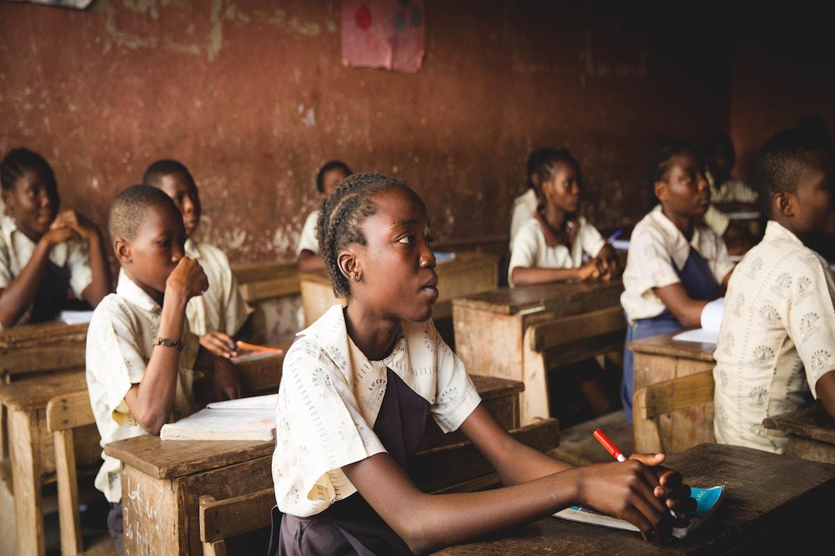 African children in a schoolroom