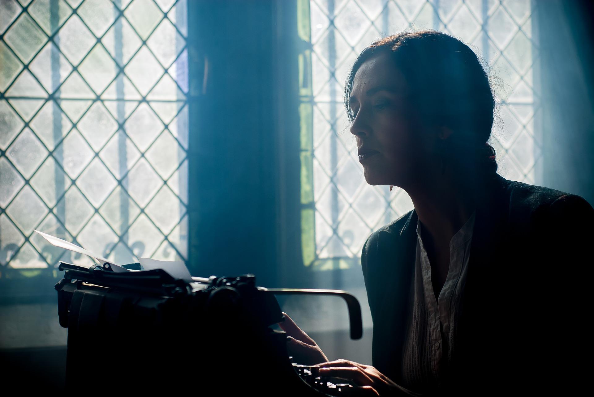 woman using a typewriter