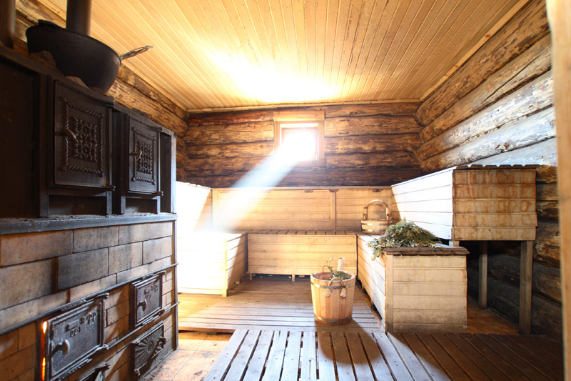 Russian Banya With Light Beam