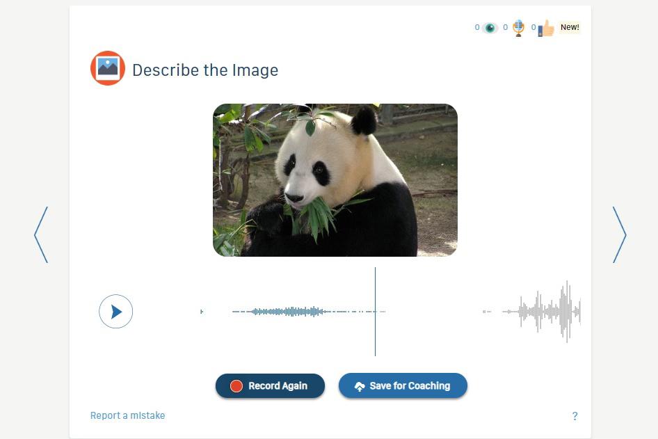 Speechling Describing the Image Mode in Playback