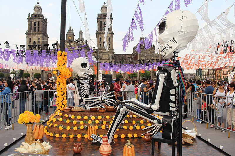 day of the dead huge dolls in plaza