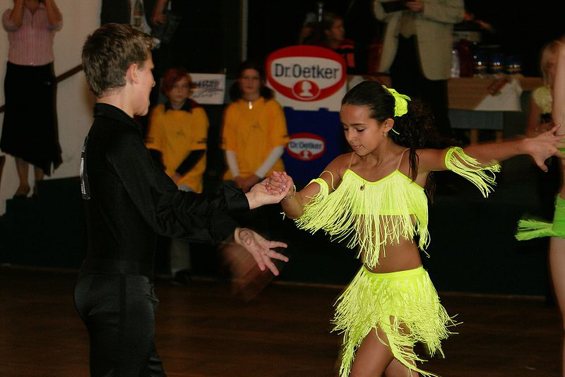 Salsa Competition Girl in Yellow