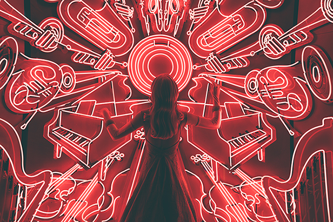 Musical Instruments in Neon Lights