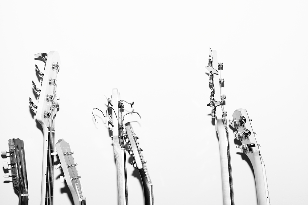 White Background Guitars Rock