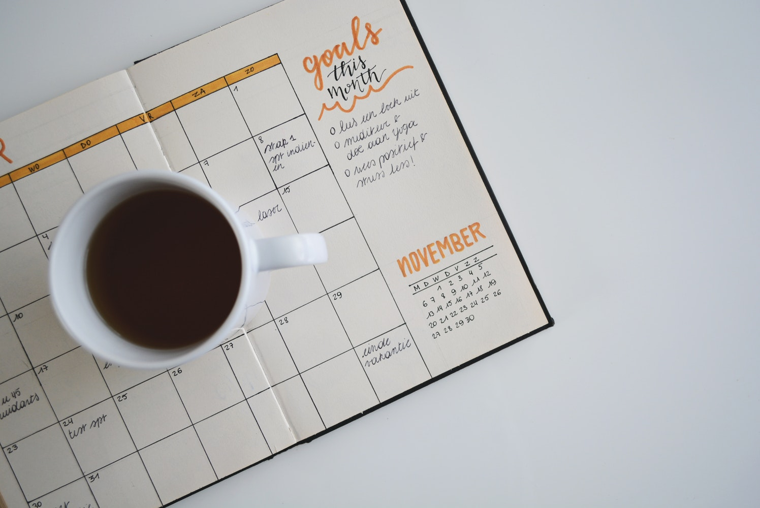 coffee mug on a calendar