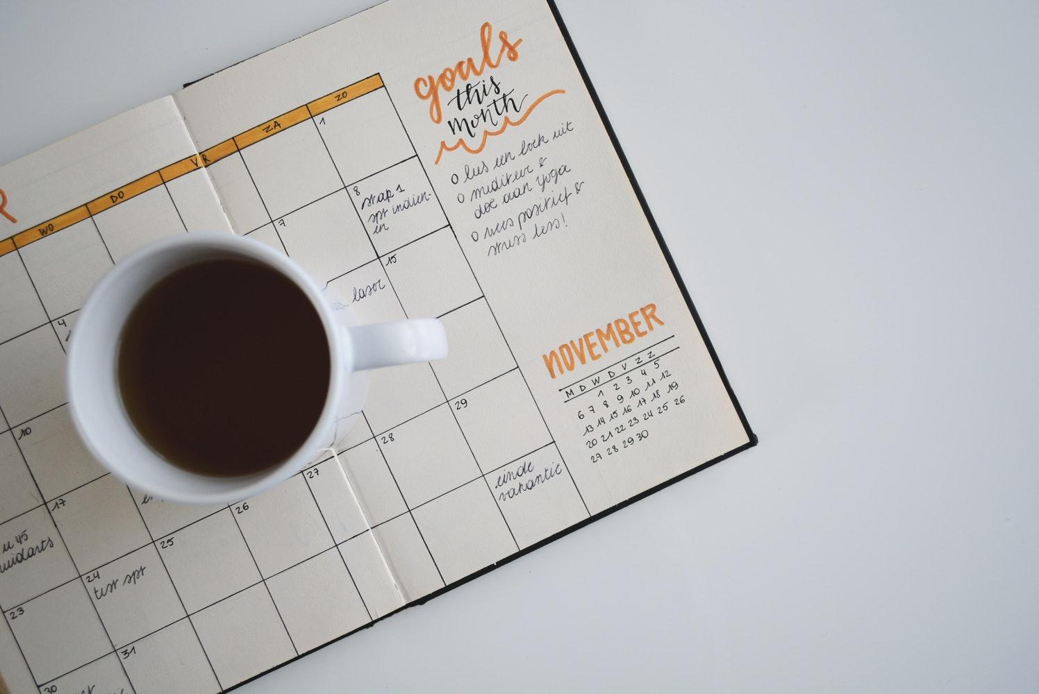 coffee mug on a calendar