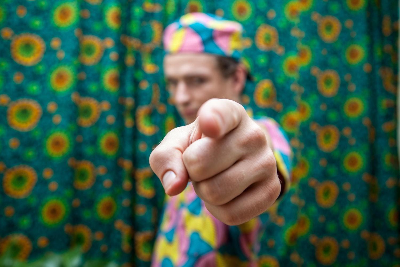 man pointing at the camera