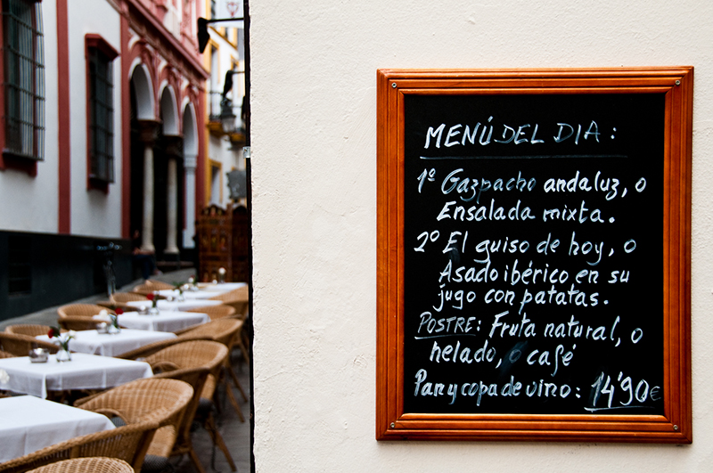 Restaurant Words in Spanish Menu Del Dia