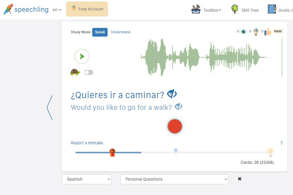 Speechling Learn Spanish Tool