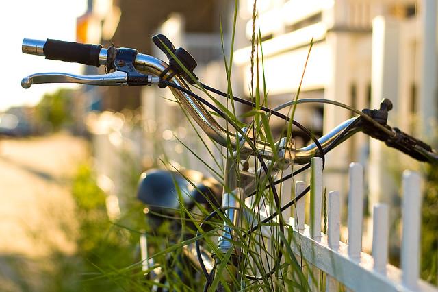 Close-up of bicycle handlebars