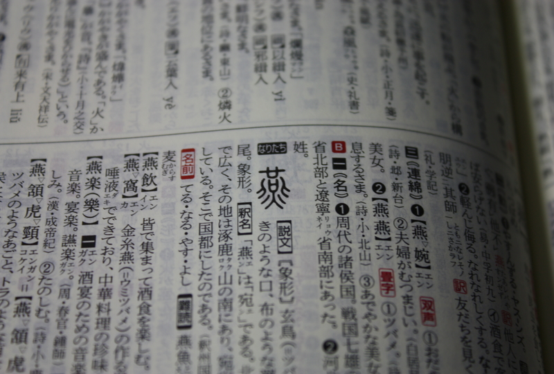 Picture of a dictionary with the word 燕 (swallow))