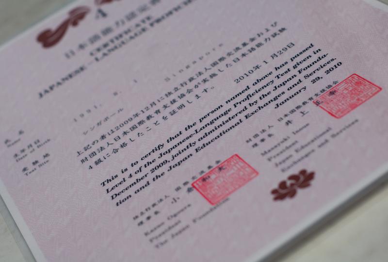 A JLPT N4 certificate