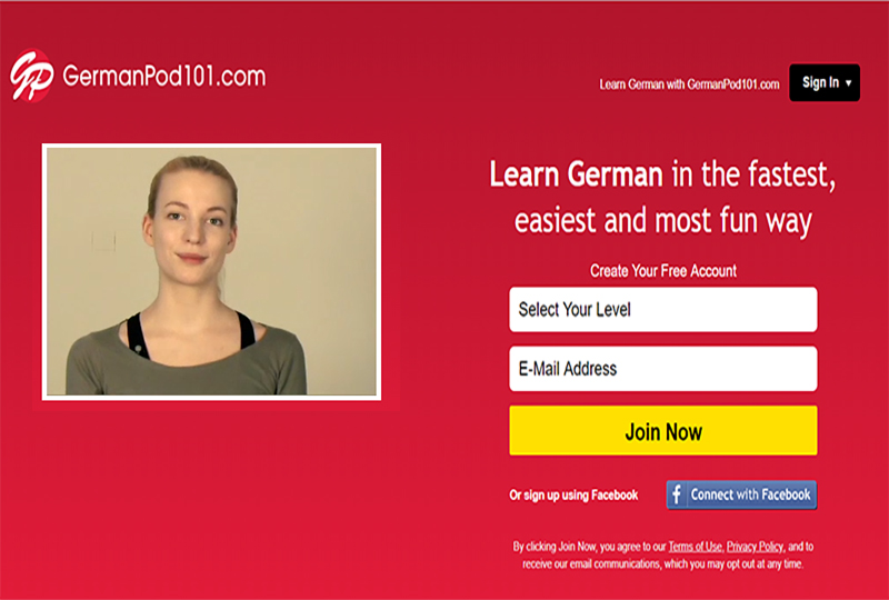 GermanPod101 signup page