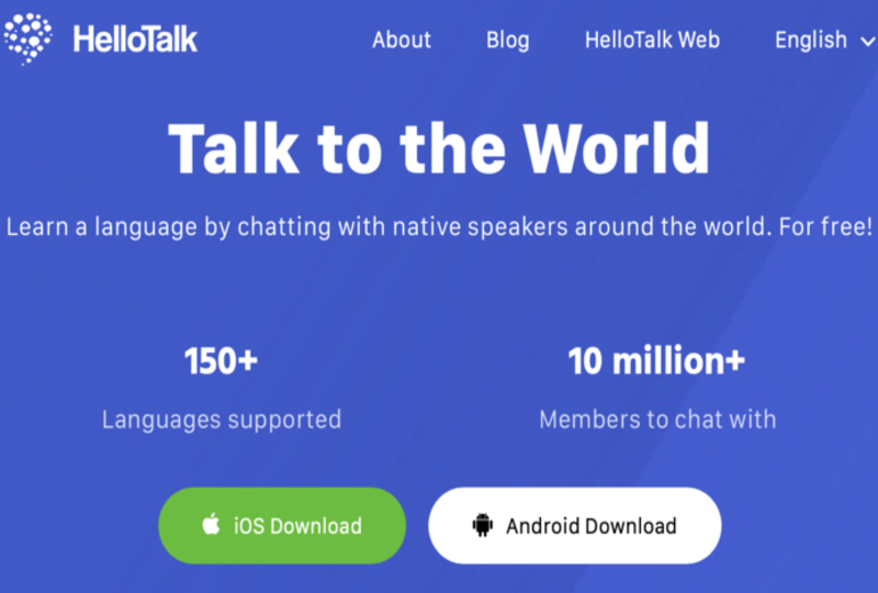HelloTalk signup page