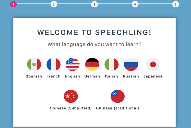 Speechling onboarding page