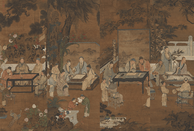 Sequence of four images showing Ancient Chinese nobility playing a stringed instrument, a board game, doing calligraphy and painting