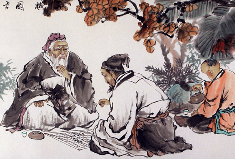 Two Chinese men in traditional Chinese dress playing Go in an outdoor setting