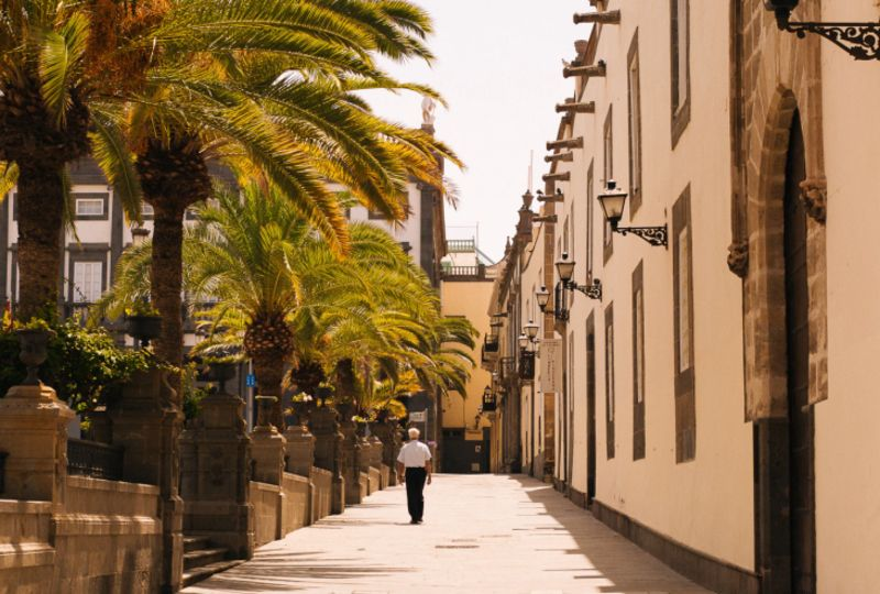 Man is walking at the Canary Islands