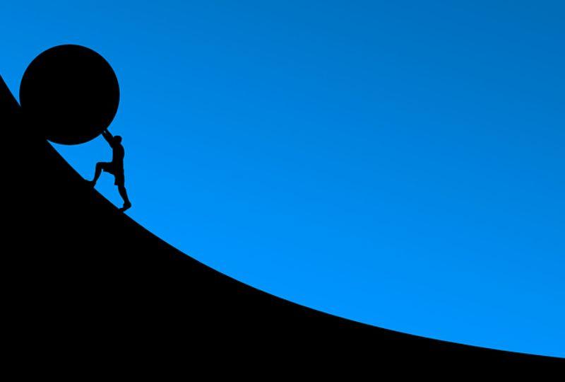 bolder up a hill