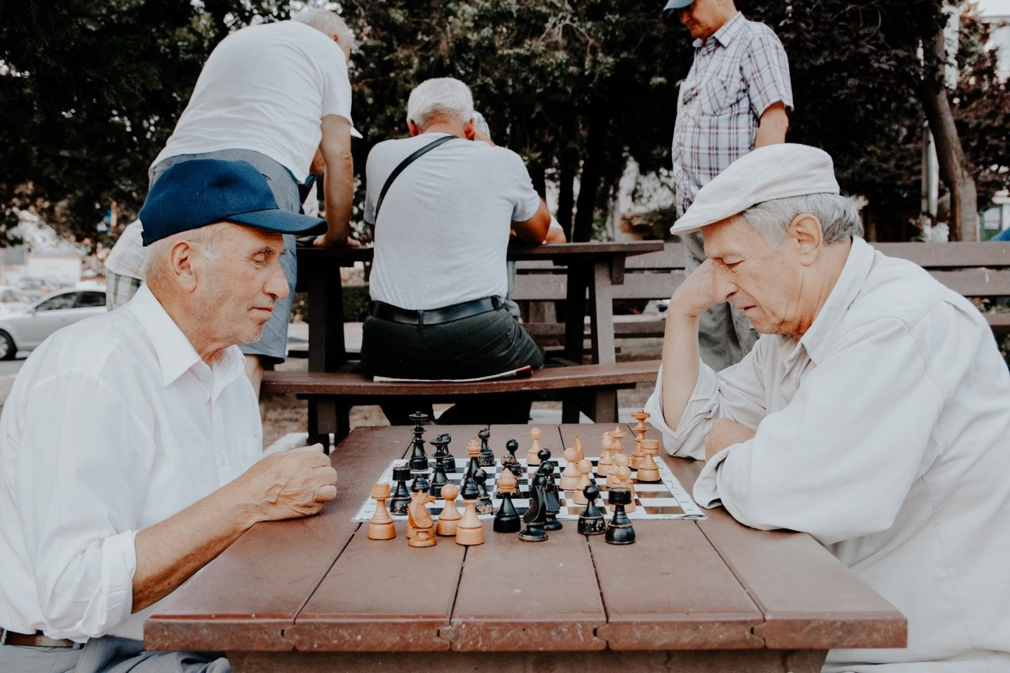 Two old men playing chess