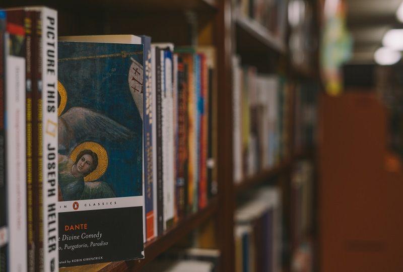 Books on bookshelf, including Dante's The Divine Comedy