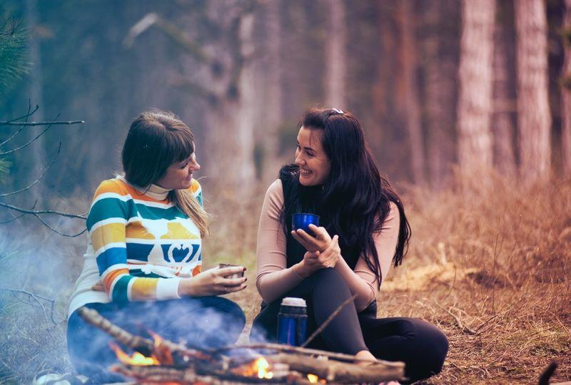 Women talking at a picnic