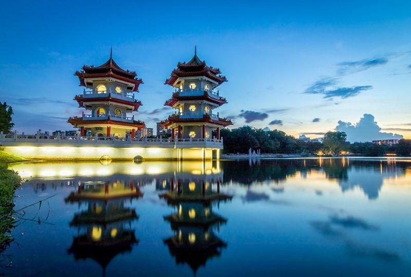 Two pagodas and a lake