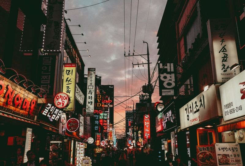 Korean street under night sky