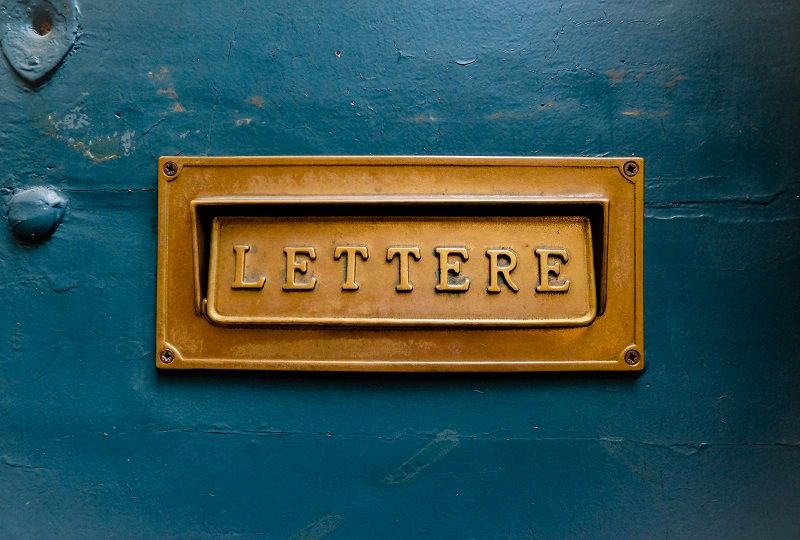 Italian Letter Box with the word lettere