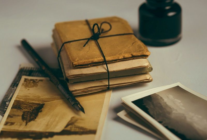 Bundle of letters and letter writing equipment