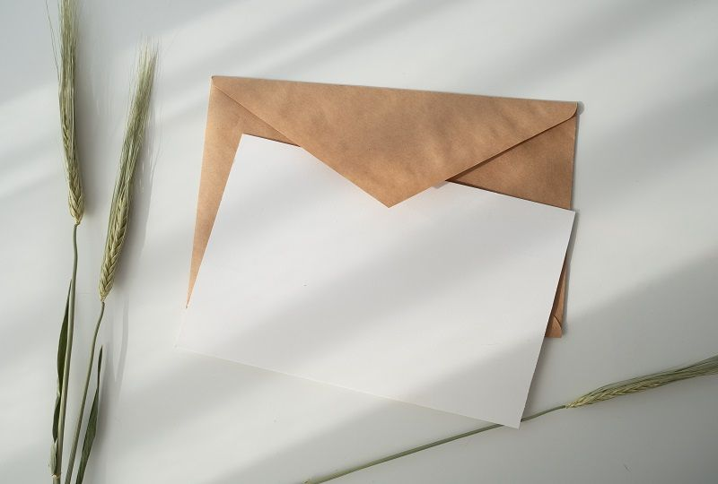 Envelope and blank page
