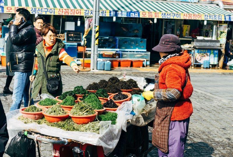 Korean woman selling various sea vegetables