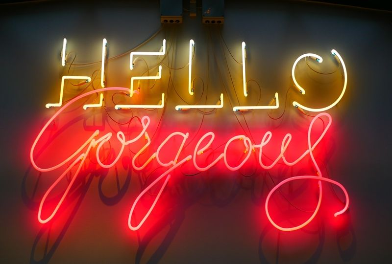 Neon sign that says hello gorgeous