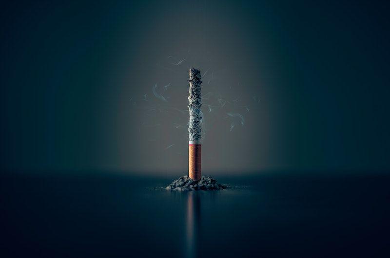 A cigarette burning