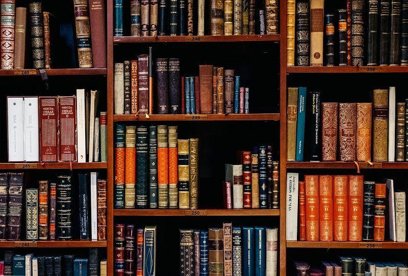 Books on shelf for Italian reading