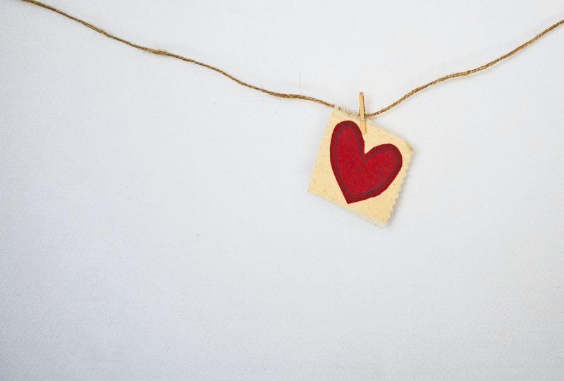 Heart pinned onto string