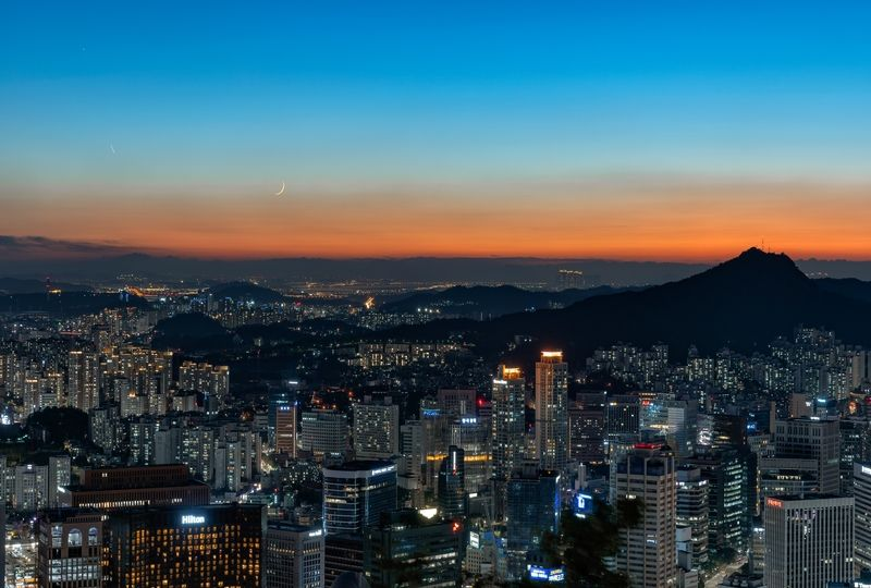 Sunset over Seoul city