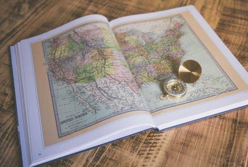 Book open to map of the United States