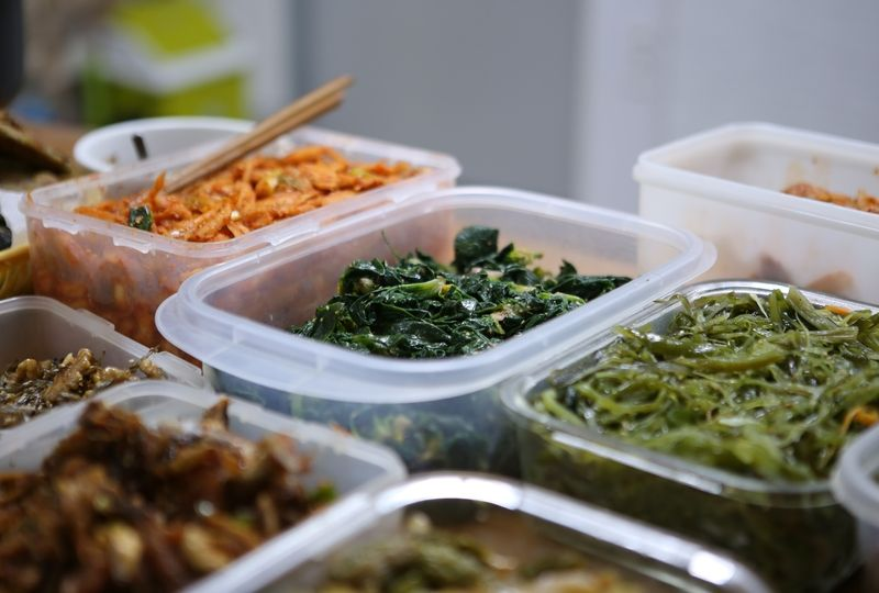 Korean side dishes in containers
