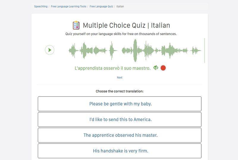 Speechling's Italian Multiple Choice Quiz