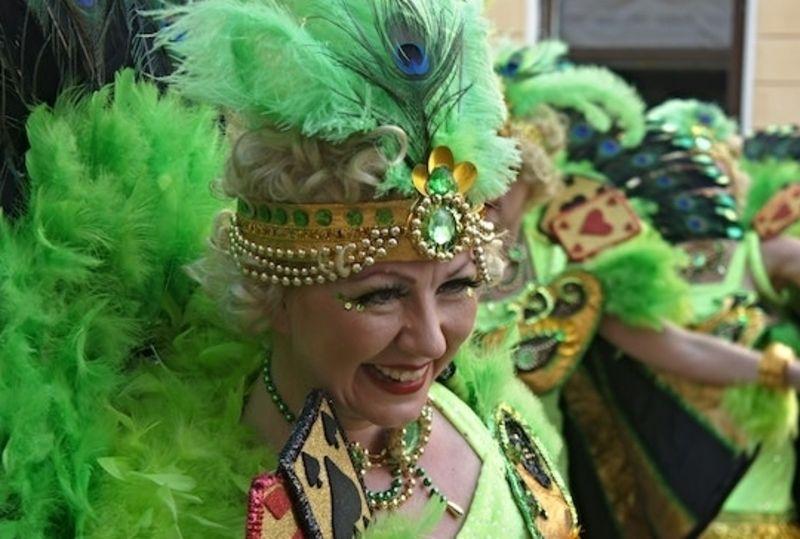 a Brazilian woman in carnival clothing
