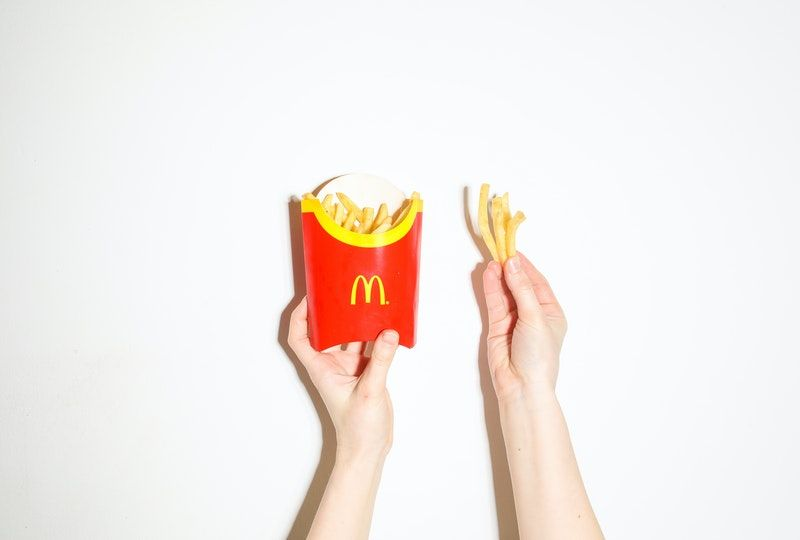 Container of french fries
